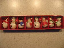 Made for Macy's Lot of 8 Earthenware Miniature Snowmen Christmas Ornaments 2006
