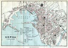Pianta di Genova. Carta Topografica,Geografica.Stampa Antica + Passepartout.1891