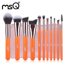 Free Shipping MSQ 11PCs Quality Makeup Brush Set Synthetic With PU Leather Cases