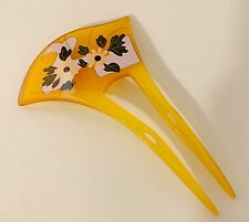 Bridal Acrylic Two-Prang Hair Fork Comb Stick with Water Lily Flowers Yellow