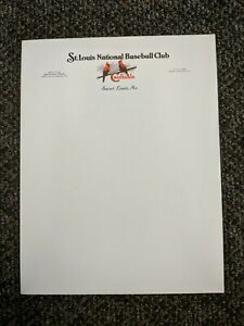 Vintage St Louis National Baseball Club 8 1/2 x 11 Letterhead Paper 1930's 1940'