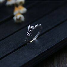 New Vintage Sterling S999 Silver Ring Women Girl Lucky Leaf Ring US4-6