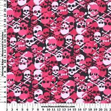 1/2 yard FLANNEL  Pink Camouflage Skulls and Bones on Black BTHY