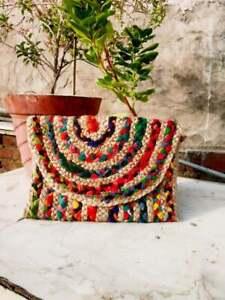 Multicoloured Clutch Bag Cotton Jute Shopping Bag Handmade Recycled Fabric Bag