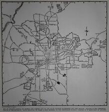 Vintage 1942 World War WWII Atlas City Map Atlanta, Georgia GA Civil War Battles