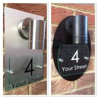 MODERN HOUSE SIGN PLAQUE DOOR NUMBER STREET GLASS ALUMINIUM/BLACK EFFECT LIGHT