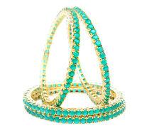 Indian Bollywood Gold Tone Green AD Stone 4 Pcs Bangle Bracelet Wedding Jewelry