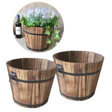 2-Pack Vintage Wooden Bucket Flower Pot Garden for Plants Outdoor Indoor