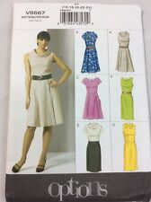 VOGUE SEWING PATTERN 8667 MISSES 16-24 DRESS W/ Fitted Bodice & Princess Seams