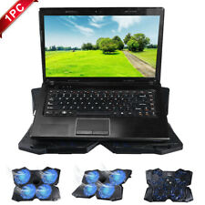 USB Laptop Cooler Cooling Pad Stand Adjustable Blue Fan LED For Game PC Notebook