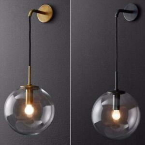 GLASS RETRO INDUSTRIAL BATHROOM WALL LAMP SCONCE GLOBE GLASS SHADE WALL LIGHT