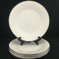 Set of 4 VTG Salad Plates Noritake Reina White Floral Platinum Trim 6450Q Japan