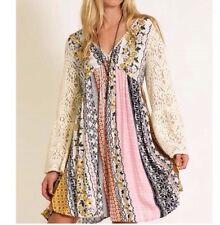XL Peasant Lace Bell Sleeve Pastel Patchwork Dress KORI UMGEE Summer Flowy