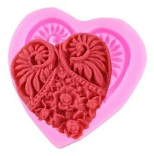 Heart Baroque Lace Decorated Silicone Mold - Fondant Gum Paste, Chocolate, Craft