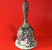 FENTON NATIVITY BELL HOLY NIGHT ARTIST SIGNED HAND PAINTED VINTAGE 6 1/2""