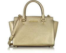 Michael Kors Selma Medium Saffiano Leather Top Zip  Messenger in Pale Gold