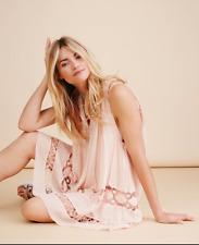 NEW Free People Costa Brava Pink Cotton Mini Dress w/ Beautiful Crochet Detail