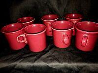 """Fiesta Ware  31/2""""  Dark Red  Set of 7 Vintage  Mugs"""