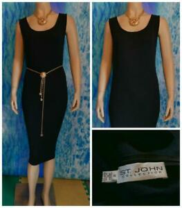 ST. JOHN Collection Santana Knit Black Dress L 12 10 Sleeveless Sheath LBD