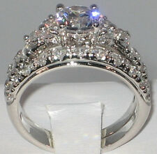 EXQUISITE 2.93 CT. CZ Platinum EP Bridal Wedding Engagement Ring Set - SIZE 9
