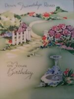 Vtg 1940s DOWN FRIENDSHIP Road BIRTHDAY Fountain Picket Fence GREETING CARD