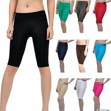 22bf8968c5067a Seamless Stretch Bike Shorts Solid Colors Spandex Knee Length Legging Yoga  Sport