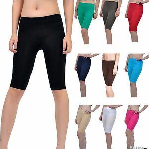 Seamless Stretch Bike Shorts Solid Colors Spandex Knee Length Legging Yoga Sport