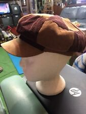 Vintage CABBIE FLAT CAP Newsboy Gatsby Golf Ivy Driving 3 Tone Brown Size Small