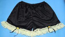 """#A80 M/Elastic Waist22-42"""" Vintage Style Handmade Black Nylon Half Slip Panties"""