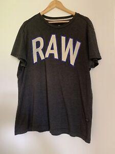 G Star Raw mens Dark Grey t shirt size XL bold logo print modern casual