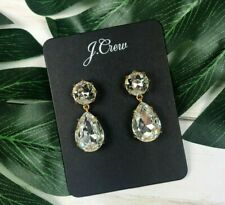 Drop Earrings in Silver Crystal #K1470 New Nwt J. Crew Pear-Shaped Stone
