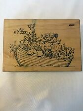 Comotion 2402 NOAHS ARK Noah's Ark Rubber Stamp Wood Mounted by Co-Motion Stamps