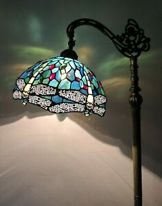 "Enjoy Tiffany Style Floor Lamp Dragonfly Green Blue Stained Glass Antique 64""H"