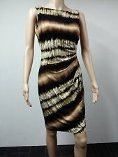 NEW - Anne Klein Sleeveless Coconut Side Pleated Dress Size 6 Printed Brown $129