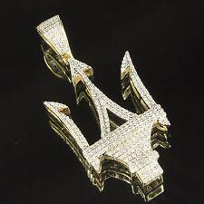 10k Yellow Gold Trident Maserati Logo Pendant Genuine Diamonds 0.75 Ct Charm Men