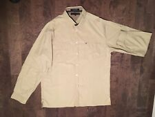 Tommy Hilfiger Mens Button Front Shirt khaki Long Sleeve Size Large.c31