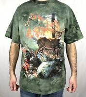Vintage 1990s The Mountain Size T Shirt L Large Buck Deer All Over Print 1999