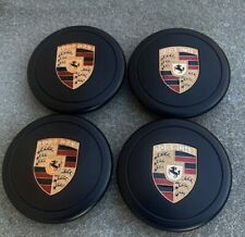 Porsche 911 930 944 Fuchs Wheel Center Caps- 80mm (Set of 4) Black (Gold Crest)