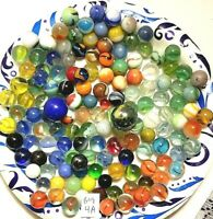 Vintage Lot 140 Marbles Various Sizes and Colors (Bag 4A)