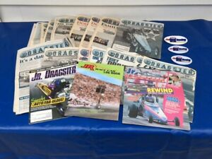 Lot of 31 NHRA Jr Dragster Magazines Books Racer Mags Log Book Patches & Decals