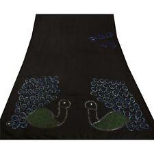 Tcw  Vintage Black Sarees 100% Pure Silk Hand Beaded Fabric Peacock Sari