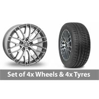 "4 x 20"" AC Wheels Syclone Hyper Silver Alloy Wheel Rims and Tyres -  225/35/20"