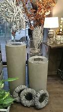 Windlicht Säule steingrau mit Glas Deko Säule Zensäule Fiberglas 2 Größen