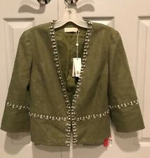 NWT TORY BURCH 'Avery' Hills $525 Embellished Linen Blend Jacket *Size 2*