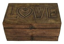 LOVE VANITY JEWELLERY BOX WITH MIRROR/DRAWER/TRAY MANGO WOOD HAND CARVED