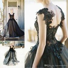 Gothic Schwarz Brautkleider Tüll V-Ausschnitt Hochzeitskleid Maßgeschneidert