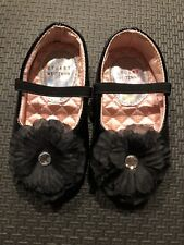 NEW Stuart Weitzman Black Flower Ballet Flats baby shoes Size 4-$58