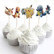 12x Pikachu Pokemon CUPCAKE CAKE TOPPER Pick Party Supplies Lolly Loot Bag