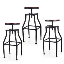 1/2/3 Bar Stool Swivel Metal Wood Seat Top Height Adjustable Barstool W