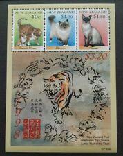 1998 New Zealand Zodiac Lunar Year Tiger - Favourite Cats Miniature Sheet MS MNH